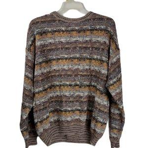 Vintage Nanibon 2xl brown striped abstract sweater